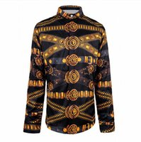 Wholesale Fancy Belts - Wholesale- Fashion Wave Long Sleeve Men's Shirts Retro Noble 3D Egypt Religion Belt Floral Print Shirt Casual Royal Baroque Fancy Shirts