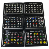 Wholesale Ear Rings Plugs - 12pairs 3 4 5 6 8mm Rhinestone Crystal Magnet Magnetic Earrings Magic Unisex Fake Cheater Ear Plugs Nose Lip Ring