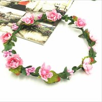 Wholesale purple yellow hair for sale - Group buy Party color Bohemian Hair Crowns Flower Headbands Women Artificial Floral Hairbands Headwear Hair Accessories Beach Wedding Garlands