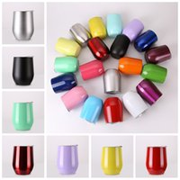 Wholesale Travel Mugs Double Wall - Egg Cups Wine Glasses Stainless Steel Beer Stemless Cups 19 Colors 9oz Travel Double Walled Vacuum Insulated Water Mugs 10pcs