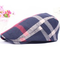 Wholesale red berets - Wholesale- DT600 Men Newsboy Ivy Golf Hunting Hat Plaid Cabbie Gorras Casquette Hats for Women Vintage Beret Caps Hats Cotton Casual Bones