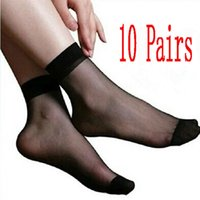 Wholesale-10 paia Estate Khaki Nero puro Lady Ultra Thin ragazza di seta corto caviglia colore delle donne calde sexy 'Low Cut Socks