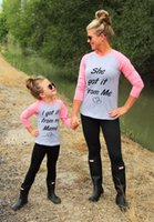 Wholesale Get Clothing - Family Clothes Letter Printed I got it from my mama cotton T shirt Long Sleeve Parent-Child Casual Tee Tops Shirt Mother Daughter A7248