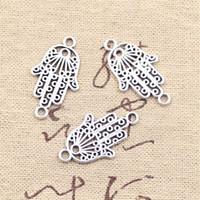 Wholesale Connector Bracelet Charm Vintage - Wholesale-99Cents 8pcs Charms hamsa hand protection connector 26*15mm Antique Making pendant fit,Vintage Tibetan Silver,bracelet necklace