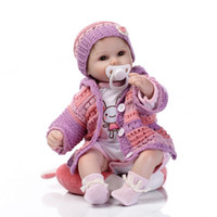 Wholesale latex rubber clothes - 17inches lifelike Silkworm reborn baby soft silicone vinyl real touch doll lovely newborn baby rabbit clothes
