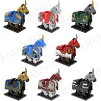 Wholesale Battle Figures - 80pcs Mix Lot Battle Horse with Armor Minifig Medieval War Battle Horses with Armor Space Wars Super Hero X0158 Mini Building Blocks Figures