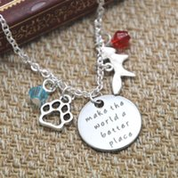 Wholesale Place Jewelry - 12pcs lot Zoo Necklace Make the world a better place Inspirational necklace Animal paw print fox crystals Jewelry