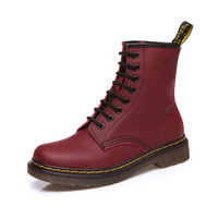 Wholesale Female Leather Boots - Genuine Leather Women Martin Boots Winter Warm Shoes Botas Female Motorcycle Ankle Fashion Boots Women Botas Mujer Item No. XZ-003