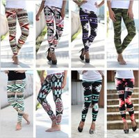 Wholesale Skinny Jeggings Wholesale - Women Geometric Print Leggings Elastic Slim Tights Fashion Stretchy Jeggings Casual Skinny Pencil Pants Bohemia Camo Boot Trousers B1813