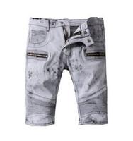 Wholesale Mens Fleece Jeans - Classic Shorts Men Biker Jeans Fashion Designer Brand Religions Pants Men's SkinClny Short Denim Jeans Robin Shorts for Mens Cotton Jean Boy
