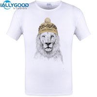 Wholesale Cheapest Men S Clothing - Creative Winter Comming Lion Print Cool Design Men Funny T Shirt Summer Short Sleeve Tops Cheapest Clothing Plus Size S-6XL