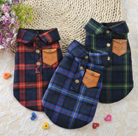 Wholesale Dog Clothes Winter Vest - England plaid style cotton pet dog winter clothes shirt polo Double layer dog t shirt vest clothing for small pets dogs