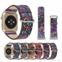 Wholesale Nationals Band - For Apple Watch PU Leather Band Strap of 38 42mm Series 1 2 Flower Prints Vintage Floral National Folk Style Design Belt