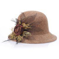 Wholesale Orange Fedora - Summer Cloches New Flower Blend Solid Dome Top Women Sun Hat Fashion Beach Hats Fedoras