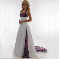 Wholesale Halter Style Wedding Dressed - 2017 New Arrival Camo Wedding Dresses Halter A Line Pleated Satin Long Lace Up back Country Style Wedding Bridal Dress
