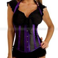 Wholesale Lace Up Black Halter Corset - Black+Purple Burlesque Underbust Halter Corset Lace up Bustier S M L XL 2XL