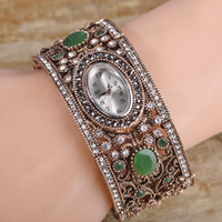 Wholesale Copper Clocks - Turkish Jewelry Resin Watch Bracelets&Bangles For Women Men Antique Gold Color Pulseira Relogio Feminino Time Clock Bijouterie