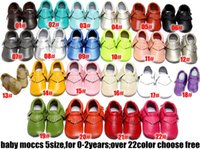 Wholesale Prewalker Leather Baby Shoes - No Lead ! 22colors Baby moccasins soft sole moccs genuine leather prewalker booties toddlers baby infants fringe cow leather moccasins shoes