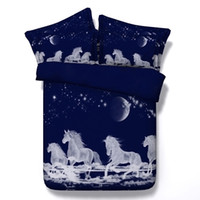 Wholesale horse bedding sets full size for sale - Fashion D Printed Moon White Unicorn Bedding Sets Twin Full Queen King Size Bedspreads Dovet Cover Sets Pillow Shams Comforter Horse Animal