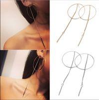 Wholesale Fashion Circle Long Earrings - Hot Luxury Fashion Women Earring Bride Circle Long Tassel Ear Stud Dangle Earrings Jewelry