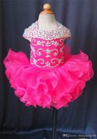 Wholesale Girls Pageant Dresses Shiny - 2017 Shiny Rose Pink Organza Flower Girl Girls Glitz Pageant Dresses Infant Toddler Dresses Communion Dress Cupcake Gown
