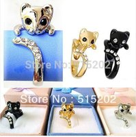 Fashion Real Gold Plated The Cat Anneau Charms Disco Rings Lover cadeau Crystal Ring Livraison gratuite LM-R001