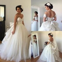 Wholesale Beaded Backless Ball Bridal Gown - 2017 Plus Size Lace Ball Gown Wedding Dresses Off-Shoulder Backless Wedding Gowns With Tiered Skirt Beaded Bridal Gowns Vestidos De Noiva