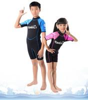 Wholesale Swim Wear For Kids - 3MM Neoprene Shorty Kids Wetsuit For Boy Rash Guard Girl Swim Scuba Diving Wet Suit Snorkeling Surf Wear Clothes Free Ship