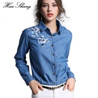 Wholesale Blue Denim Blouse - Fashion Autumn Women Shirt Long Sleeve Embroidery Floral Blue Denim Shirt Women Work Wear Office Blouse And Tops