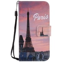 Wholesale Eiffel Tower Galaxy S4 Cover - Painted Eiffel Tower flip leather case for Samsung Galaxy S3 S4 S5 S6 S7 edge card cover Card slot wallet with kickstand phone stand