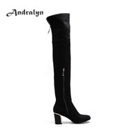 Wholesale Suede Boots Zipper - Andralyn black women's over knee boots suede pointed toe zipper top quality rubber sole fashion high heels knee high boots