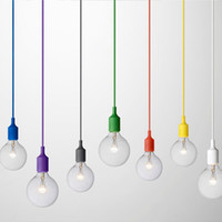 Wholesale Retro Pendants - Art Decor Silicone E27 Pendant Lamp Ceiling light bulb Holder Hanging lighting Fixture base Socket Modern silica gel retro Colorful muuto