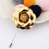 Wholesale Wholesale Women Leather Suits - Men's PU Leather Flower Lapel Pin Brooch Boutonniere for Suit Evening Banquet Charm Classic Women brooches Golden Silver Rose broches