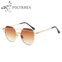 Wholesale Brand Polarized Women Sunglasses - Fashion Polarized Sunglasses Women Sunglasses Fashion Brand Designer Twin-Beams Coating Mirror Sun glasses Oval Designer Glasses With Box