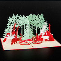 Wholesale custom laser cut - (5pieces  Lot )Merry Christmas Santa Ride 3d Laser Cut Pop Up Paper Handmade Custom Greeting Cards Christmas Tree Gifts