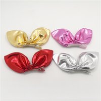 Barato Tecido Vermelho Rosa Para Cabelo-Shinny Kid Girl Coelho Ear Clips de cabelo Solid Gold Silver Red Rose Red Bow Clips de alta qualidade Fabric Top Hairpins Classic Bow Knot