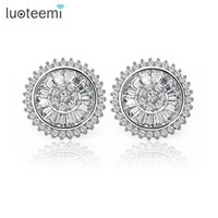 Wholesale Copper List - LUOTEEMI Brand Gift Top Luxury New Listed Super Classic White Gold Color Top CZ Crystal of The Stud Earrings Factroy Wholesale