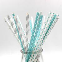 mavi kağıt çöp toptan satış-Toptan Satış - Toptan-Yeni 125pcs (5bags) Karışık Mavi Gümüş Renk çocuklar doğum günü düğün dekoratif parti dekorasyon olayı Kağıt Straws içme malzemeleri