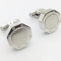Wholesale Octagon Grid - Free Shipping - AP Cufflinks Octagon Grid High-end men's French Shirt Sleeve Metal Cuff link Stainless Steel many Color Availiable
