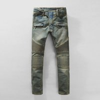 Wholesale Stylish Mens Men Long Straight Designed Motor Biker Denim Jeans Skinny Slim fit Trousers Casual Pants Pairs