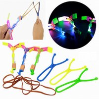 Wholesale Shooting Sports Wholesale - Flash Copter LED Slingshot Helicopter Flare Glow Sling Arrow Shot Copter Glitter Light Emitting Arrow Flying Toys Outdoor Fun Sports