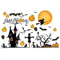 Wholesale Witches Wall Stickers - Halloween Pumpkin Wall Stickers Witch Broom Pumpkin Ghost Bat Happy Halloween Night Party For Home Wall Bedroom Window Decoration
