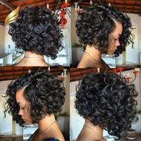 uzun saçlı kısa peruk toptan satış-Genç Kısa Bob Kesim Tam Dantel Peruk İnsan Saç Uzun Bob Yan Kısmı Dantel Ön Peruk Siyah Kadınlar Için Bella Saç