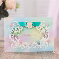 Wholesale Invitation Blue Flower - Colorful Dream Flowers Waves Blue Silk Tie Wedding Invitations Cards, By Wishmade, CW6092