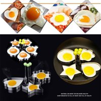 Wholesale Egg Biscuit - Fried Egg Mold Non-Stick Stainless Steel Cartoon Heart DIY Cooking Biscuit Meatloaf Mold Set Tool pancake rings Kitchen Accessories Egg I112