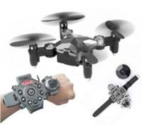 relojes de control al por mayor-El más nuevo WIFI FPV RC Drone plegable DH-800 2.4G Set controlador Mini Selfie Drone Pocket Control remoto RC Quadcopter envío gratuito