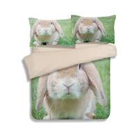 Wholesale king sized bedding sale for sale - HOT SALE Kawayi Rabbit animal Bedding Sets Green duvet cover queen king twin size Fitted Sheet bedding set bed linen