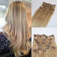 Wholesale Clip Hair Extensions Highlights - 120g 7Pcs Balayage Extensions Clip In Human Hair Nordic Blonde Highlights In Hair Brazilian Virgin Hair