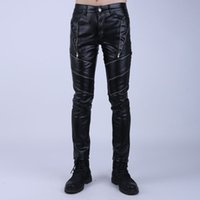 Men black tights for boys - Fashion Night Club DJ Swag Skinny Mens Faux Leather PU Tight Black Joggers Biker Pants For Men Boys With Zippers
