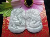 Wholesale White Jadeite Pendant - natural white jade jadeite dragon Phoenix good luck gift Couples Pendants